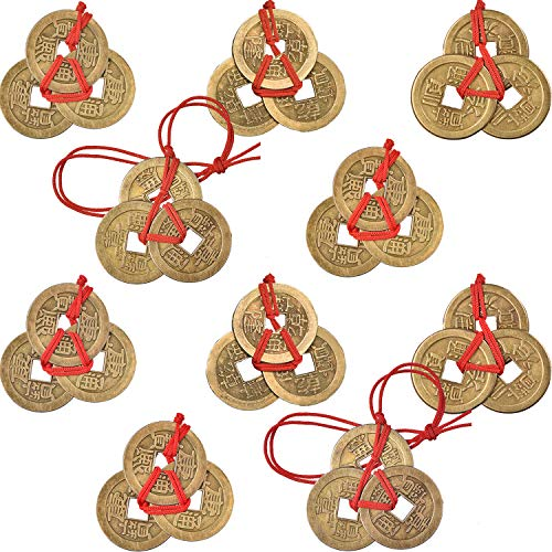 Boao Chinese Fortune Coins Feng Shui Coins I-Ching Coins Traditional Coins with Red String for Wealth and Success, 5 Styles (10)
