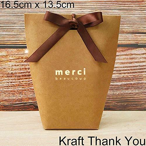 Xinger 5 stks zwart wit bronzing candy bag franse dank u trouwbedankjes geschenkdoos pakket verjaardagsfeestje gunst tassen, 13.5x16.5 cm merci