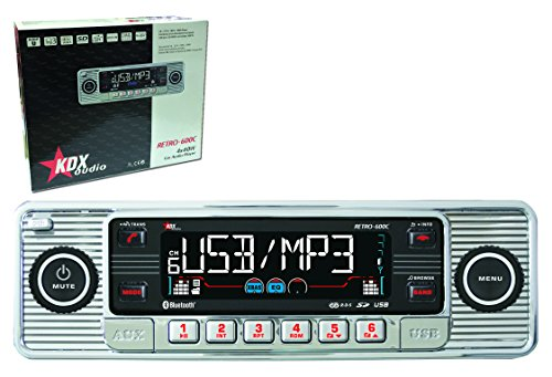 KDX-Audio Retro-600C - Radio CD, MP3, WMA, Bluetooth, color cromado y negro