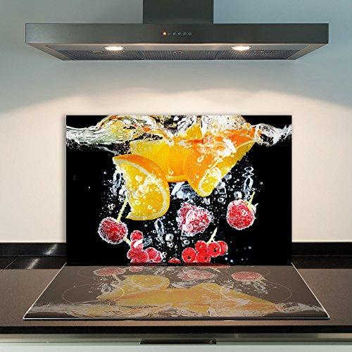 DAMU | Ceranfeldabdeckung 1 Teilig 80x52 cm Herdabdeckplatten aus Glas Obst Orange Rot Elektroherd Induktion Herdschutz Spritzschutz Glasplatte Schneidebrett