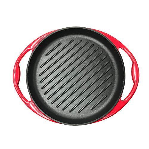 LMJ Outsider Gestreepte biefstuk koekenpan, 26cm dikke koekenpan, gietijzeren pot, emaille pot, non-tick pan steak pot