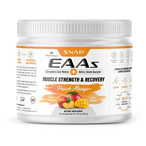Snap Supplements EAAs Powder Essential Amino Energy - BCAA, Amino Acids, Muscle Strength & Recovery Post Workout Energy Drink, Mango Flavor for Men & Women - 30 Servings