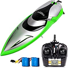 Blast to sail, past other remote control boat at 20-25km/H: built-in 370 strong water cooler magnetic driving motor, The speed can reach up to 25km/H. Race multiple RC boats with no interference using the 4 Channel speed boat remote control and the a...