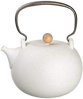 急須 バルクティーとティーバッグケトル用セラミックティーポットホワイトクレイポットお茶セット (Color : White, Size : 1200ml)