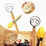 Danish dough wisk for cooking,bread making tools and supplies,double eyes good for making bread pizza dough, dough mixer,dough whisk,13 inches wooden handles,one tone in a kit …