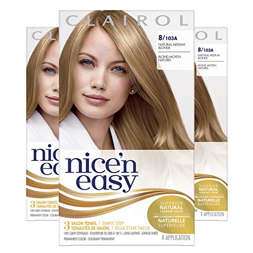 Clairol Nice'n Easy Permanent Hair Dye, 8 Medium Blonde Hair Color, 3 Count