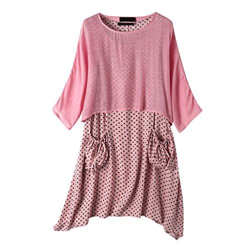 Dasongff dames zomerjurk tweedelige bovenstuk, tops + polka dots, draagjurk met tas, vintage, baggy, strandkleding, vrijetijdsjurk, onregelmatige jumpsuit, tshirt jurk, kaftan XXXL roze