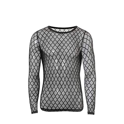 GODIWAN Men's Sexy Fishnet See Through Tank Top Muscle Workout Mesh Transparent Breathable Long Sleeve Black