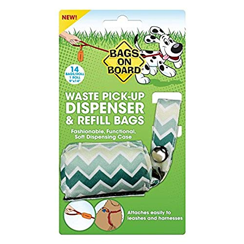 Bags on Board Dog Poop Bags Dispenser with 14 Refill Bags | Attaches to Most Leashes, Green Chevron Bags On Board Leash