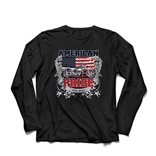 lepni.me Camiseta de Manga Larga para Hombre Classic American Pride Moto, Retro Motorcycle, Vintage Motobike (XXXXX-Large Negro Multicolor)