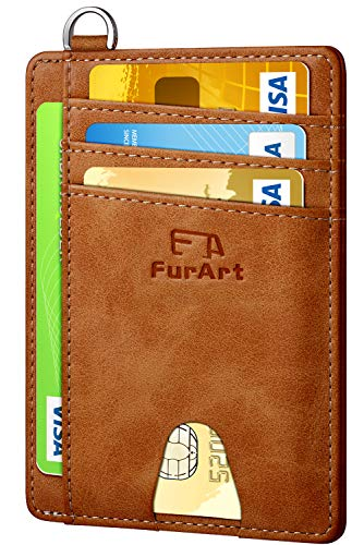 FurArt Slim Minimalist Wallet, Front Pocket Wallets, RFID Blocking, Credit Card Holder with Disassembly D-Shackle