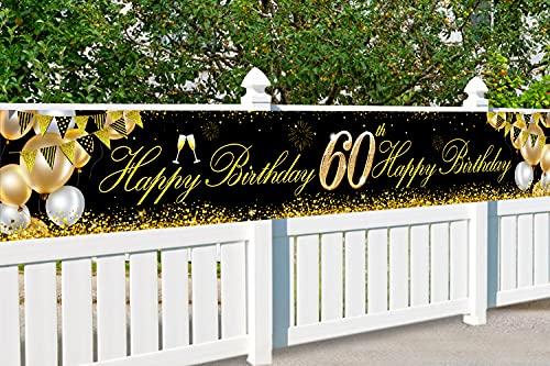 60 Globos Cumpleaños Decoracione Oro Negro, Decoración de Fiesta de 60 Cumpleaños, Photocall 60 Cumpleaños, Regalo 60 años, Pancarta de Fondo de 60 Aniversario, para Decoración de Fiesta Foto Prop