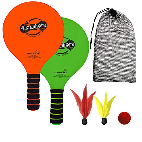 Jazzminton Lite – Indoor & Outdoor Game for Family and Friends – 2 Paddles, 2 Birdies, 1 Ball - All Season Paddle Game for Kids and Adults – Take Your Kids Outside for Some Active Fun