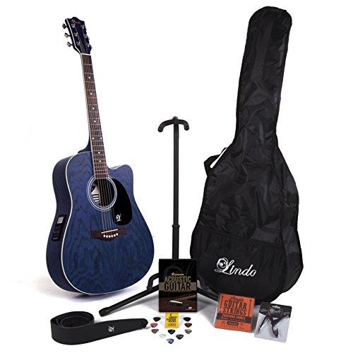 Guitarra electroacústica Willow, de la marca Lindo, con cutaway, previo, afinador digital y pack de accesorios completo (funda, soporte, cuerdas, correa, 10 púas, DVD y cejilla)