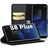 EasyAcc Hülle Case für Samsung Galaxy S8 Plus, Lederhülle PU Leder Tasche Klappbar Schutzhülle Handyhülle mit [Ständer Funktion] Card Holder Cover Kompatibel mit Samsung Galaxy S8 Plus - Schwarz