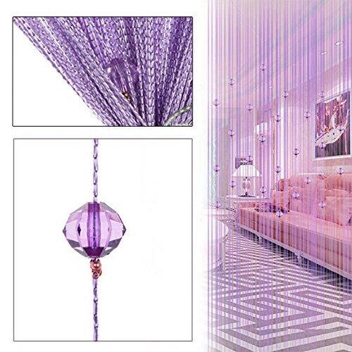 HTOYES Dekorativer Fadenvorhang mit Perlen, Wandvorhang, Schaufensterdekoration, Raumteiler, für Hochzeit, Café, Restaurant, mit Kristallquaste, Innendekoration (Violett)
