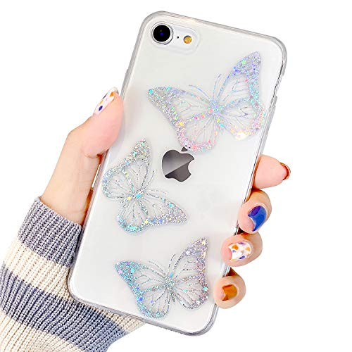 Compatible with iPhone 7/8/SE 2020 Case for Women Girls, Butterfly Pattern Clear Design Transparent Plastic Hard Back Case with TPU Bumper Protective Case for iPhone 7/8/SE 2020 4.7''