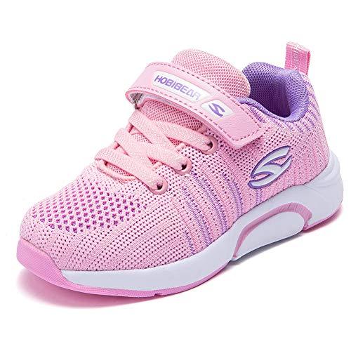 Kyopp Laufschuhe Kinder Turnschuhe für Mädchen Jungen Sportschuhe Kinderschuhe Outdoor Sneakers Klettverschluss Atmungsaktiv Unisex(7#Pink 27EU)