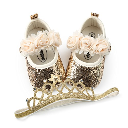BENHERO Baby Infant Girls Soft Sole Floral Princess Mary Jane Shoes Prewalker Wedding Dress Shoes (12-18 Months Infant), C-Gold+Headband