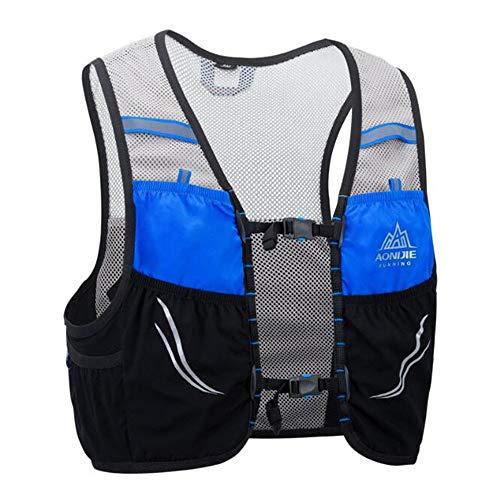 AONIJIE Mochila de hidratación de 2,5 litros para maratón, carrera, chaleco de hidratación para correr, senderismo, mochila con paquete de hidratación [para hombres o mujeres] (negro, azul, L/XL)