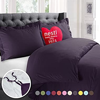 Nestl Bedding Duvet Cover, Protects and Covers your Comforter/Duvet Insert, Luxury 100% Super Soft Microfiber, Queen Size, Color Purple Eggplant, 3 Piece Duvet Cover Set Includes 2 Pillow Shams