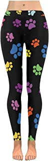 InterestPrint Custom Colorful Paw Dog Stretchy Capri Leggings Skinny Pants for Yoga Running Pilates Gym(2XS-5XL)