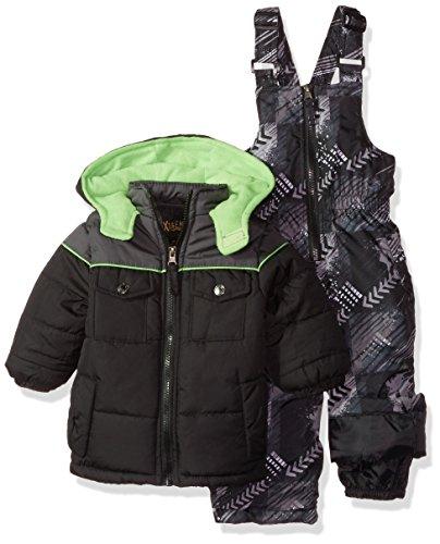 iXtreme Baby Boys Inf Colorblock Snowsuit W/Print Bib, Black, 12M