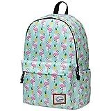 Schulrucksack Mädchen, VASCHY Wasserabweisend Rucksack Damen mit Gepolstertem 14 Zoll Laptopfach Schultasche für Jugendliche Hochschule Schulranzen Flamingo