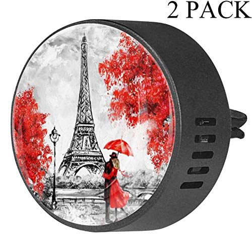 Paris Europäische Stadt Landschaft Frankreich Eiffelturm Paar roter Regenschirm auf Straße Ölgemälde Auto Diffusor Lufterfrischer EVA Auto Aromatherapie ätherisches Öl Diffusor Passion Fruit Floral