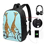 RROOT Root Unisex Rucksack mit USB-Ladeanschluss Giraffe Ride Fahrrad Classic Fashion General Business Bookbag