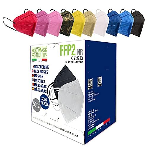 HOME KOKO LOOK 50 Stück FFP2 Bunt Masken Zertifiziert FFP2 Maske CE Zertifiziert Bunt FFP2 Masken Bunt CE 2233 Atemschutzmaske Partikelfiltermaske 5 Lagige Staubschutzmasken Hygienisch Einzelverpackt