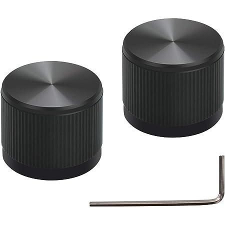 2pc 20x15.5mm Black Aluminium volume potentiometer Knob for Guitar Amplifier 6.0