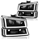 AUTOSAVER88 Projector Headlight Assembly kit Compatible with 2003 2004 2005 2006 Chevy Avalanche Silverado 1500 2500 3500/2007 Chevrolet Silverado Classic Headlamp,Black Housing and Clear Reflector