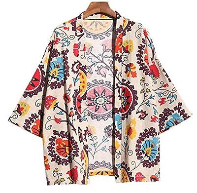 LifeHe Men's Japanese Floral Printed 3/4 Sleeve Cotton Linen Kimono Cardigan Jackets