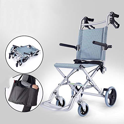 SSLL Draagbare Transit Reisstoel Aluminium Rolstoel Lichtgewicht En Opvouwbaar Frame Attendant-Propelled In Een Tas Met Handremmen Onder 9KG, 100 kg Gebruikersgewicht. SeatDepth41cm