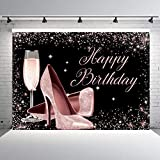 INRUI Glitter Rose Gold Happy Birthday Backdrop Sequin High Heels Champagne Glass Adult Women Birthday Party Decorations Photography Background (7x5FT)