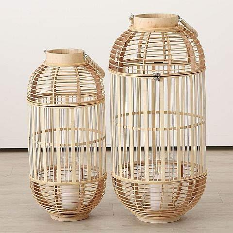 Home Collection Bambus Windlicht Laterne XXL 2er Set Sortiert H66-80cm