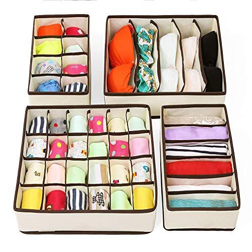 Underwear Organizer Drawer RabbitStorm Organizadores Cajón Divisores, Set de 4 Plegable Debajo de La Cama Dresser Organización Fabric, Cajas de Almacenamiento...