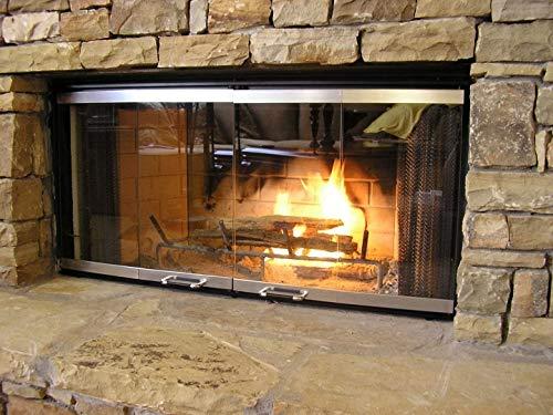 Fireplace Glass Door Set for Heatilator Fireplace Model# E42, E-42I, EC42, EC-42I, EL42 (Silver Finish)