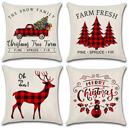JOJUSIS Christmas Throw Pillow Covers for Home Decor Christmas Tree Dear Car Buffalo Check Black and Red Set of 4 16 x 16 Inch