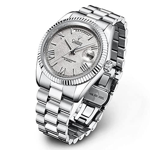 Cadisen - Reloj de pulsera para hombre, octogonal, automático, resistente al agua, 100 m, acero inoxidable, correa de una pieza, 8185 gris, Pulsera
