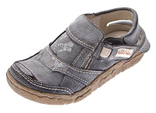 TMA Damen Comfort Sandaletten Leder Schuhe 7668 Schwarz Grau Halbschuhe im Used Look Sandalen Gr. 37