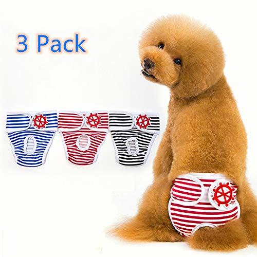 Berocia Pantalon hygiénique pour Chien Couche Réutilisable pour Chienne Lavable Pantalons de Sécurité Menstruel Sanitaires Couches Culotte pour Animaux Physiologiques Paquet de 3 sous-vêtement Chat(S)