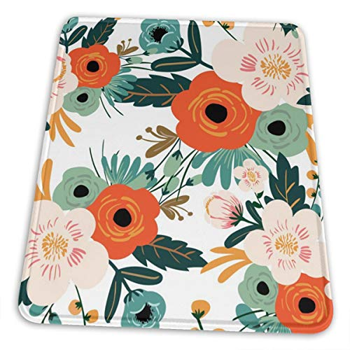 MSGUIDE Rectangle Gaming Mouse Pad, Orange Flowers Pattern Mouse Pad, Small Mousepad with Designs, Non-Slip Rubber Mouse Pad with Stitched Edges, Office Dorm Computer Laptop Travel