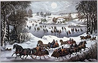 Posterazzi Central Park in Winter Currier & Ives (Active 1857-1907 American) Poster Print, (18 x 24)