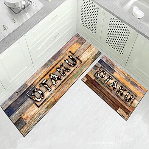 HLXX Alfombra de Piso de Cocina Vintage Alfombra de Puerta de Entrada de baño Dormitorio Sala de Estar Área de Noche Alfombra Alfombra Lavable Antideslizante A7 40x120cm