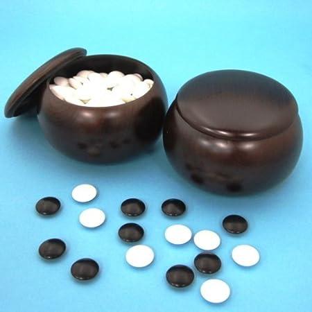 碁笥碁石セット プラスチック碁笥銘木大と硬質ガラス新生碁石竹(約9mm厚)のセット