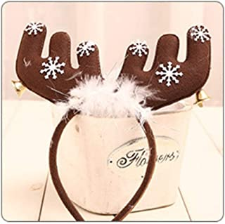 QQRS- Lovely Christmas Ornaments Christmas Headdress Decoration Christmas Tree Package Christmas Decoration Headdress Feather Bells Antlers Headband Red (Color : A)
