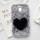 YHY Plush Heart Shaped Style Elegante Funda para Teléfono Móvil para Samsung Galaxy J3 2017 EU TPU Silicona Anti Fall Warm Cover Gris Oscuro