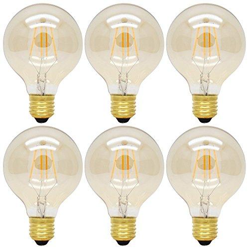6X 4W E27 G80 Dimmbar Glühbirne LED Edison Lampe Vintage Retro Stil Filament Birne,Ersatz 35W,300 Lumen, 2200K Warmweiß,360°Abstrahlwinkel,AC 220V